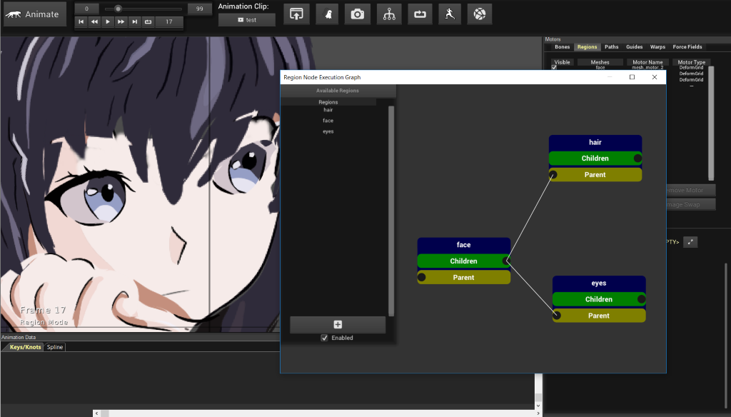 Advanced Facial Animation with Region Node Execution Graphs - Creature